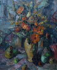 Floral Bouquet with Fruit by Elliot Seabrooke Richard Taylor Fine Art
