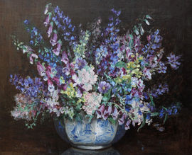 Blue Floral Arrangement by Elsie May Robson Richard Taylor Fine Art