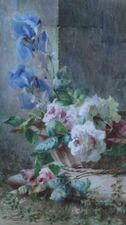 Irises and Roses in a Basket by Ermocrate Bucchi Richard Taylor Fine Art
