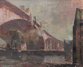 Glasgow Bridge by Ernest Burnet Hood Richard Taylor Fine Art