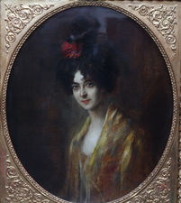 Italian Edwardian Portrait of Lady in Gold Richard Taylor Fine Art