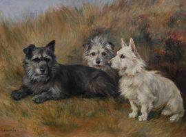 Florence Jay - Portrait of Three Terriers - Richard Taylor Fine Art