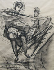 Can Can Dancers Impressionist drawing by Frank G Howes Richard Taylor Fine Art