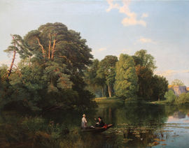 British Victorian landscape oil painting by Frederick William Hulme available at Richard Taylor Fine Art