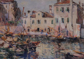 Fishing Boats Venice by Frederick William Jackson Staithes School Richard Taylor Fine Art