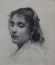 Victorian Naturalistic Portrait of a Lady by French School Richard Taylor Fine Art