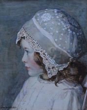 ../Portrait of a Young Girl in a Lace Bonnet by Garnet Ruskin Wolseley Richard Taylor Fine Art