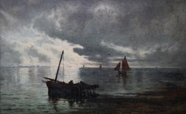 ../Scottish Victorian Seascape Unloading the Catch by George Aikman Richard Taylor Fine Art