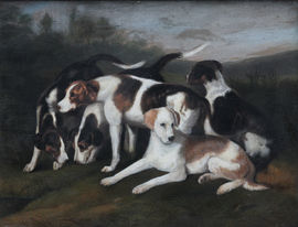 19thC Dog Painting by George Stubbs circle Richard Taylor Fine Art