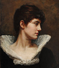 Pre-Rapaelite Portrait  in Lace Collarby Gerald Edward Wellesley Richard Taylor Fine Art