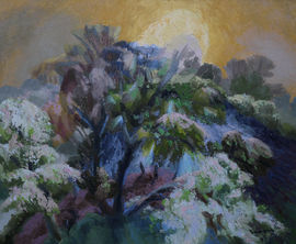 glyn morgan  - Landscape with rising moon- richard taylor fine art