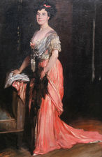 ../Muriel Morland Lady in Pink Dress by Glyn Philpot Richard Taylor Fine Art