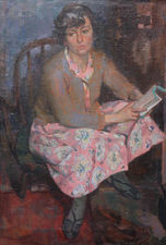 ../Scottish 1950's Portrait of Woman Reading by Gordon Stewart Cameron Richard Taylor Fine Art