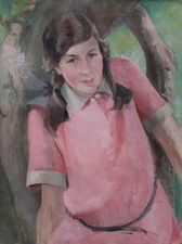 ../helen wingate -scottish girl in pink - richard tayalor fine art