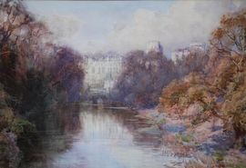Warwick Castle watercolour by Henry Charles Brewer    Richard Taylor Fine Art