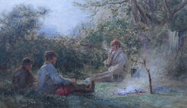 Gypsy Round a Camp Fire by Henry George Hine Richard Taylor Fine Art