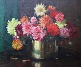 herbert davis richter - dahlias -art deco - scottish floral display -richard taylor fine art