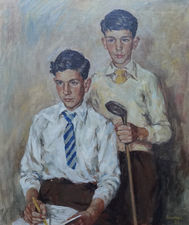 Scottish 1950's Portrait of a Golfer by James Bowman Richard Taylor Fine Art