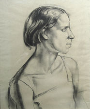 Profile Portrait of Young Woman Art Deco drawing by James Stroudley Richard Taylor Fine Art