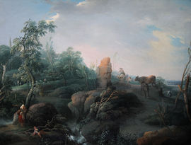 Capriccio Arcadian landscape by Old Master Jean Baptist Claudot Richard Taylor Fine Art