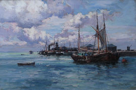 ../Scottish Boats at Harbour by Joseph Milne Richard Taylor Fine Art