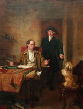 ../Sir Joshua Renolds Visiting Goldsmith in his Study by John Faed at Richard Taylor Fine Art