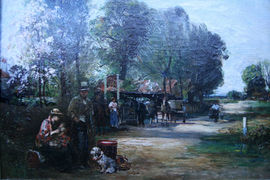 ../john robertson reid - british genre landscape - the bell inn - richard taylor fine art