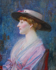 ../Lady in a Hat Victorian portrait by Joseph Walter West Richard Taylor Fine Art