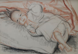 St Ives School Portrait of a Baby by Laura Knight Richard Taylor Fine Art
