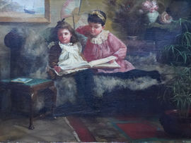 British Victorian Interior Portrait by Maria Louisa Angus Richard Taylor  Fine Art