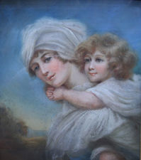 old Master 18th Century Pastel Portait - Woman and Child - richard taylor fine art