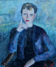 Portrait of a French Lady in Blue by Pauline Glass Richard Taylor Fine Art