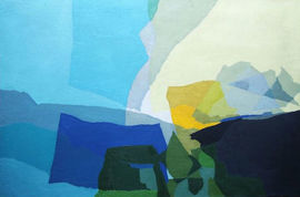 British Abstract Landscape Cornish School 1960's oil by  Peter L Field  Richard Taylor Fine Art