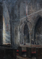 ../At Prayer Church interior Amiens France by Philip F Walker  Richard Taylor Fine Art