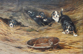 Robert Morley - Scared Puppies and Mouse- Richard Taylor Fine Art