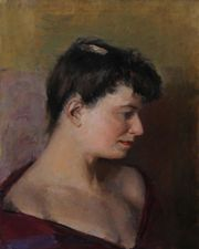 ../Female Portrait by Rodrigo Moynihan Euston Road artist Richard Taylor Fine Art