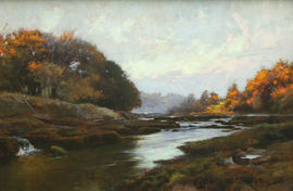 ../River Lune Impressionist oil by Samuel Lamorna Birch  at Richard Taylor Fine Art
