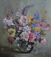 terence loudon -floral display  - richard taylor fine art
