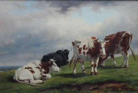 thomas baker leamington - deer park with cattle - richard taylor fine art
