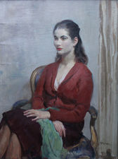 Portrait of Lady in Red by Impressionist Walter Ernest Webster Richard Taylor Fine Art