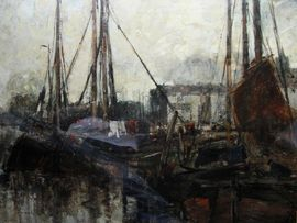 ../The Quayside by William Alfred Gibson Richard Taylor Fine Art