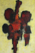 Red Idol Scottish Abstract by William Gear CoBrA Group   Richard Taylor Fine Art